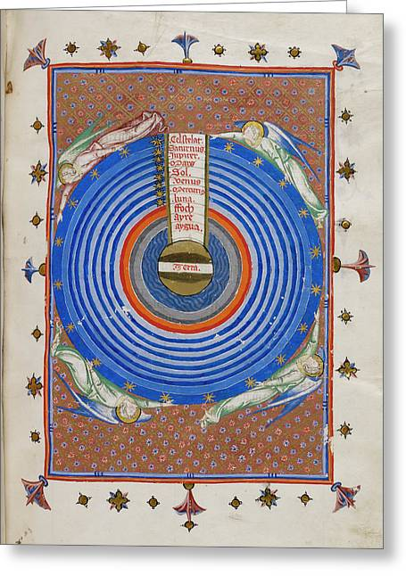 Diagram Of The Ptolemaic System Greeting Card by British Library