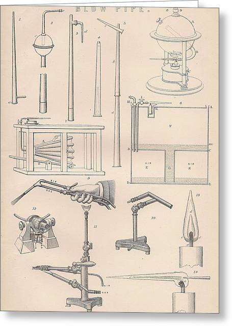 Mechanism Drawings Greeting Cards - Diagrams and parts of a Blow Pipe Greeting Card by Anon