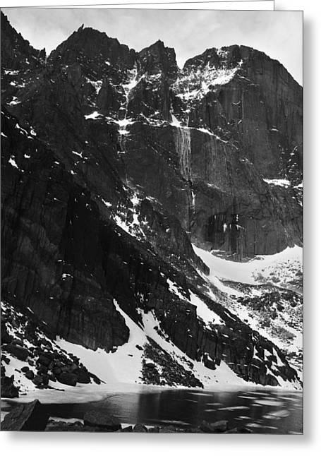 Chasm Lake Greeting Cards - Diamond Avalanche BW Greeting Card by Adam Paashaus