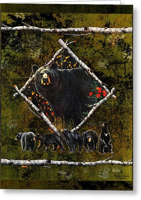 Black Bear Greeting Cards - Diamond Bear Greeting Card by JQ Licensing