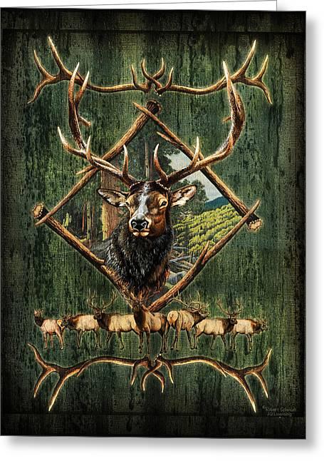 Antlers Greeting Cards - Diamond Elk Greeting Card by JQ Licensing