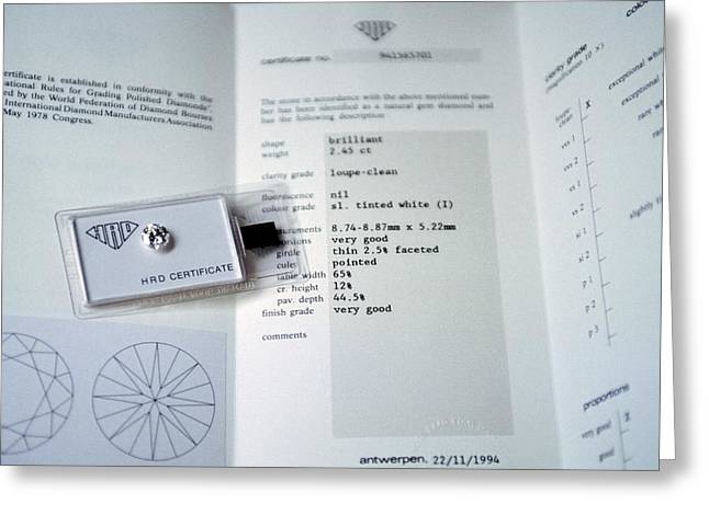Diamond Grading Certificate Greeting Card by Patrick Landmann