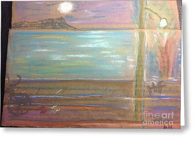 Moon Beach Drawings Greeting Cards - Diamond Head full moon Greeting Card by Willard Hashimoto