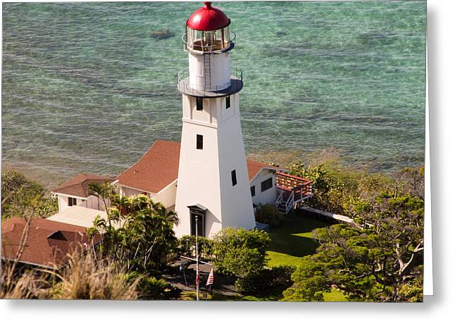 Pacific Ocean Prints Greeting Cards - Diamond Head Lighthouse Honolulu Greeting Card by Nomad Art And  Design