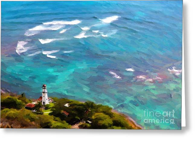 Wishes Greeting Cards - Diamond Head Lighthouse - Oil Greeting Card by Jon Burch Photography