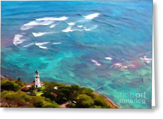 Jon Burch Photography Greeting Cards - Diamond Head Lighthouse - Oil Greeting Card by Jon Burch Photography