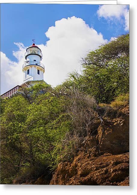 Brianharig Greeting Cards - Diamond Head Lighthouse - Oahu Hawaii Greeting Card by Brian Harig