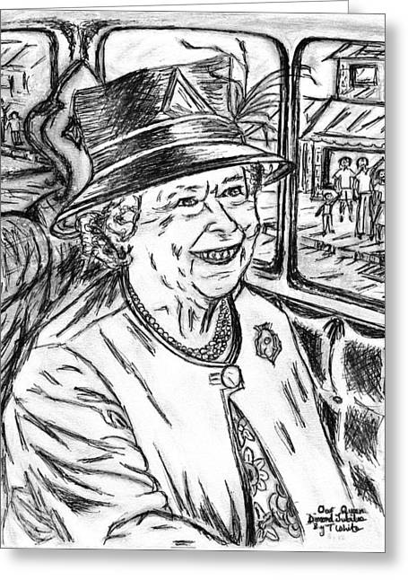 Outfit Drawings Greeting Cards - Diamond Jubilee Greeting Card by Teresa White