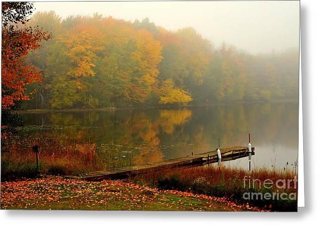 Fall Trees Greeting Cards - Diamond Lake  Greeting Card by Terri Gostola