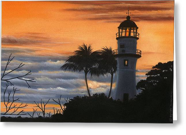 Diamond Pastels Greeting Cards - Diamond Head Lighthouse at Sunset Greeting Card by Kathryn Foster