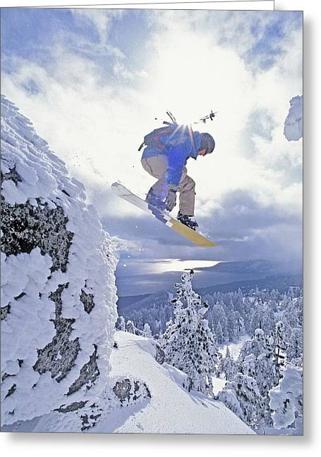Mid Adult Men Greeting Cards - Diamond Peak, Lake Tahoe, Nevada, Usa Greeting Card by Dan Sherwood