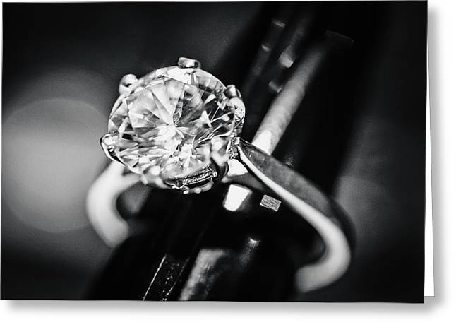Engagement Ring Greeting Cards - Diamond Ring Greeting Card by April Reppucci