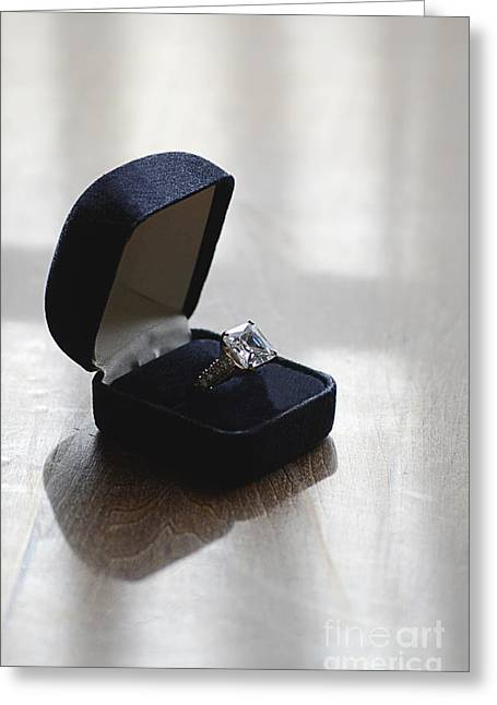 Valuable Greeting Cards - Diamond Ring on a Black Box Greeting Card by Jill Battaglia