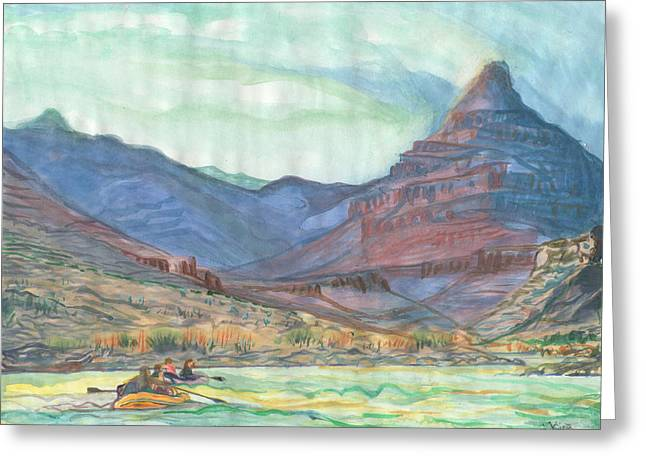 River Rafting Art Print Greeting Cards - Diamond Greeting Card by Steve King