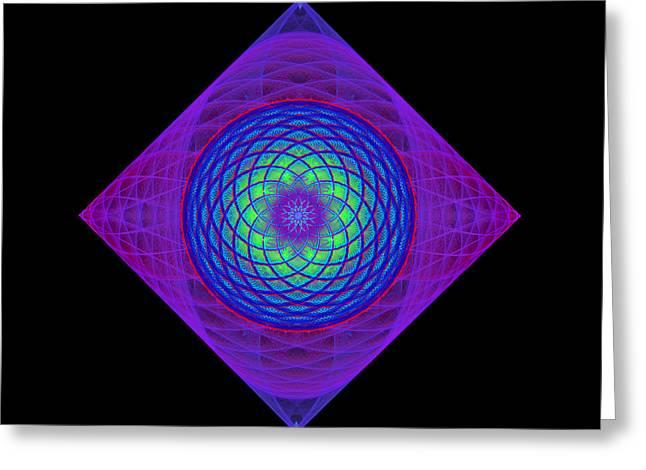 Geometric Digital Art Greeting Cards - Diamond Swirl Greeting Card by Sandy Keeton