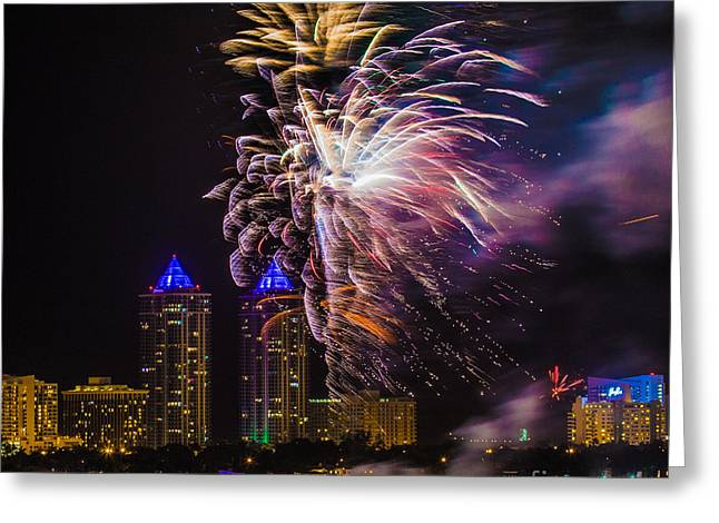 Miami Heat Greeting Cards - Diamond Towers Fireworks Celebration Greeting Card by Rene Triay Photography