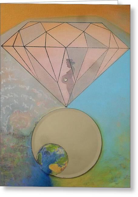 Diamond World Greeting Card by Veronika Ban