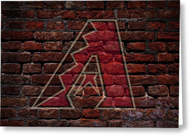 Centerfield Greeting Cards - Diamondbacks Baseball Graffiti on Brick  Greeting Card by Movie Poster Prints
