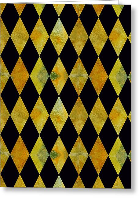 Jenny Mixed Media Greeting Cards - Diamonds Black and Gold Greeting Card by Jenny Armitage