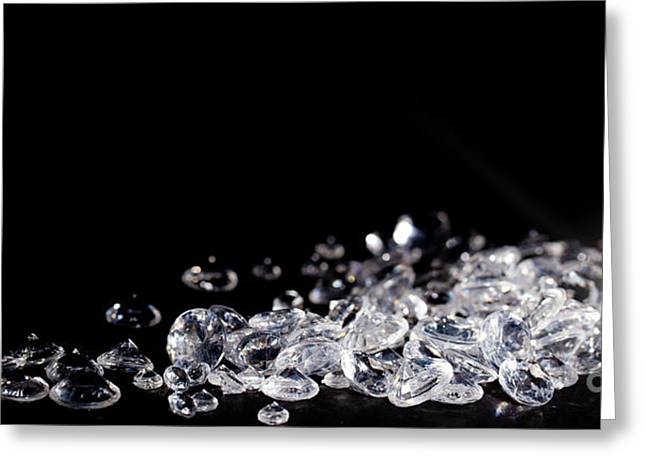 Uncut Greeting Cards - Diamonds on black background Greeting Card by Simon Bratt Photography LRPS