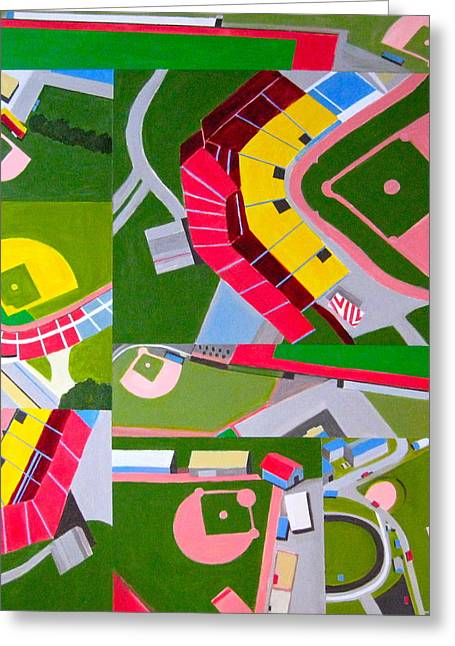 Baseball Paintings Greeting Cards - Diamonds Greeting Card by Toni Silber-Delerive