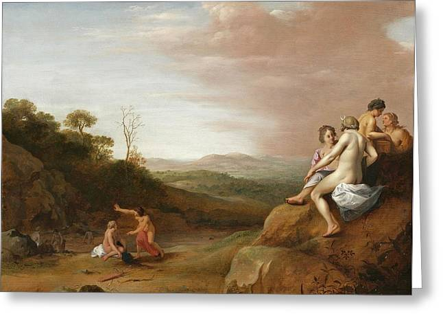 Pregnancy Paintings Greeting Cards - Diana And Her Nymphs With The Discovery Greeting Card by Cornelis van Poelenburgh or Poelenburch