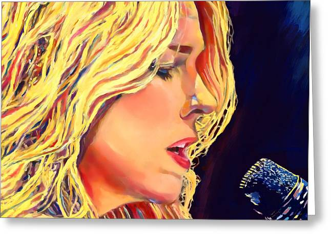 Costello Greeting Cards - Diana Krall Greeting Card by Vel Verrept