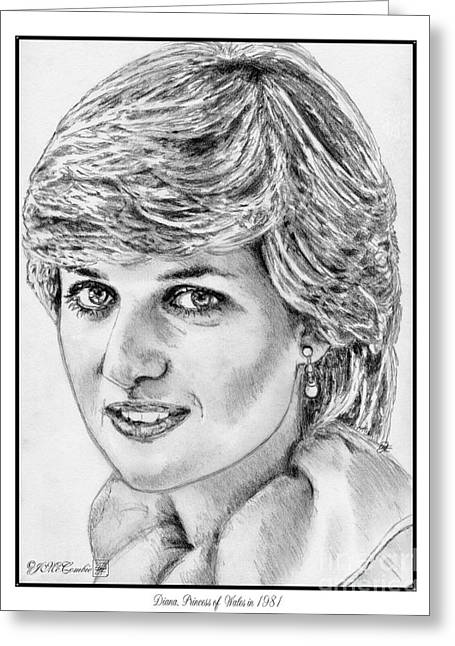 Fame Drawings Greeting Cards - Diana - Princess of Wales in 1981 Greeting Card by J McCombie