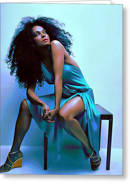 Foot Stool Greeting Cards - Diana Ross Greeting Card by  Fli Art
