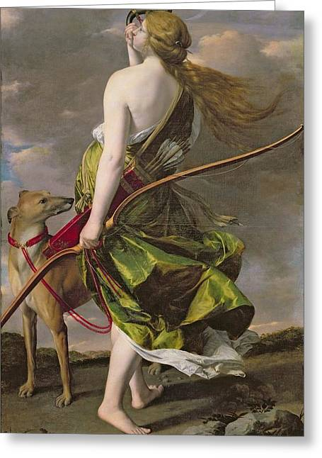 Greyhound Photographs Greeting Cards - Diana The Hunter, C.1624-25 Oil On Canvas Greeting Card by Orazio Gentileschi