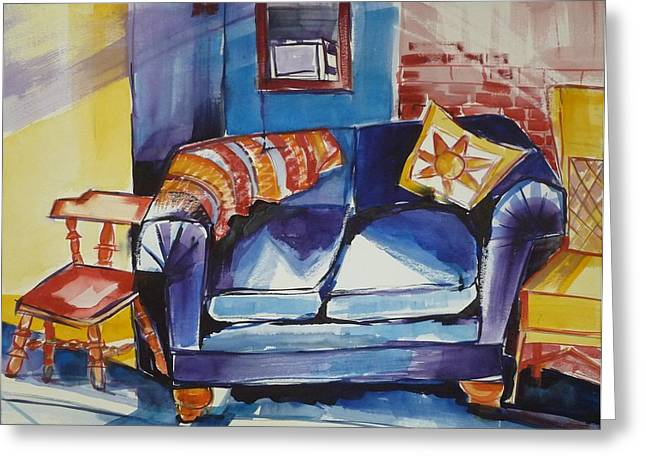 Diana's Couch Greeting Card by Suzanne Willis