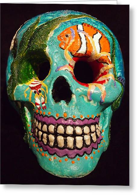 Dead Sculptures Greeting Cards - Dias de la Muertos Skull Tropical Reef I Greeting Card by Tristina Dietz Elmes