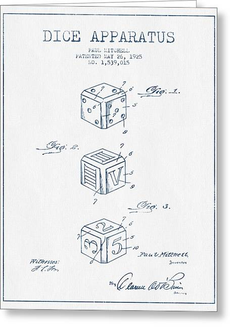 Win Digital Greeting Cards - Dice Apparatus Patent from 1925 - Blue Ink Greeting Card by Aged Pixel