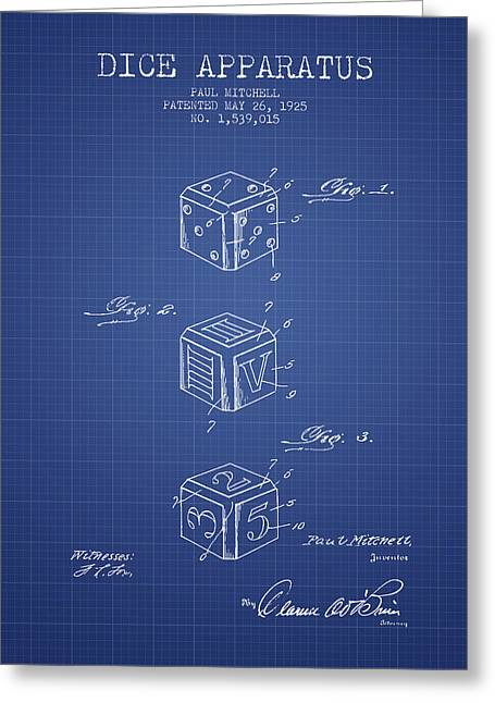 Win Digital Greeting Cards - Dice Apparatus Patent from 1925 - Blueprint Greeting Card by Aged Pixel
