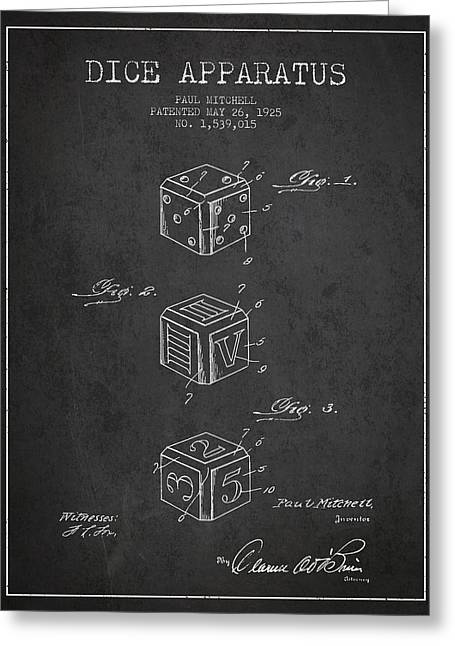Dice Apparatus Patent From 1925 - Dark Greeting Card by Aged Pixel