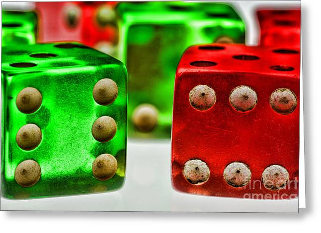 Craps Greeting Cards - Dice - Boxcars Greeting Card by Paul Ward