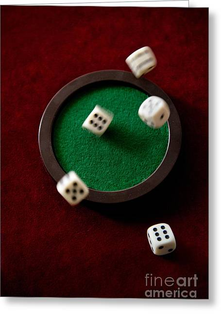 Plastic Solution Greeting Cards - Dice falling on the green plate Greeting Card by Jaroslaw Blaminsky