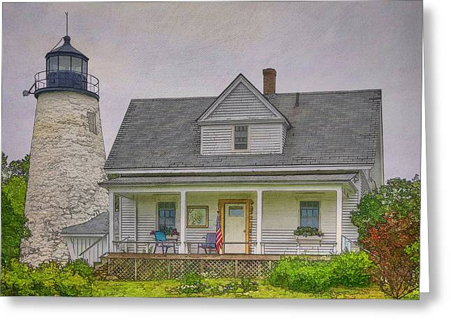 Maine Lighthouses Greeting Cards - Dice Head Light Greeting Card by Joan Carroll