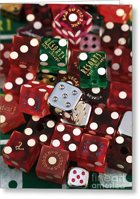 Craps Greeting Cards - Dice Greeting Card by John Rizzuto
