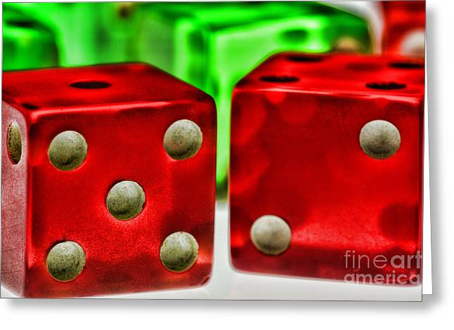 Dice - Lucky Seven Greeting Card by Paul Ward