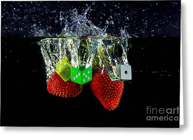 Dunk Greeting Cards - Dice Splash Greeting Card by Rene Triay Photography