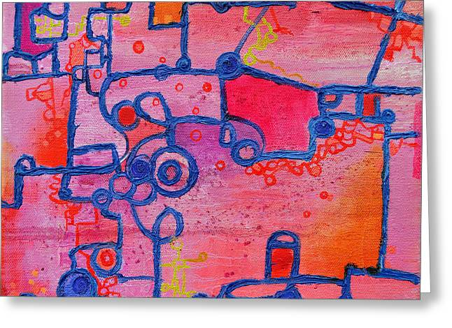 Dichotomy  Original Abstract Oil Painting By Regina Valluzzi Greeting Card by Regina Valluzzi