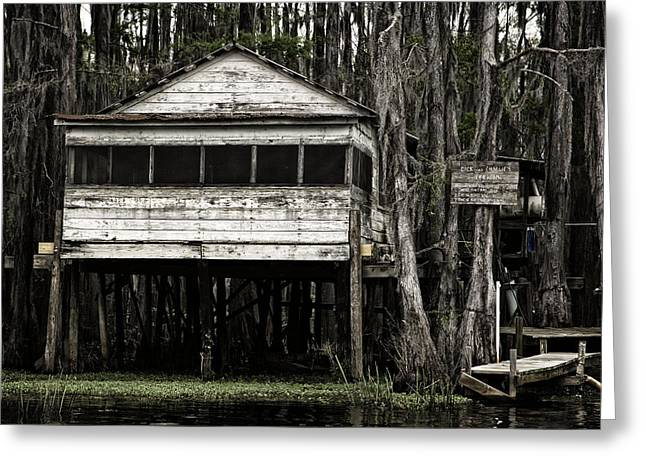 Caddo Lake Greeting Cards - Dick and Charlies Tea Room Greeting Card by John Hesley
