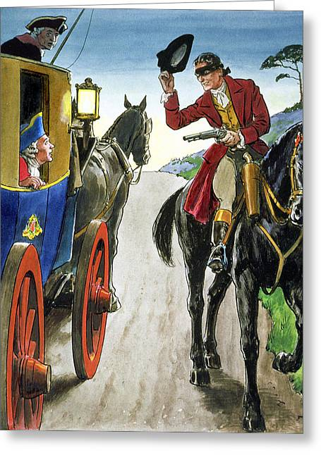 Pistol Drawings Greeting Cards - Dick Turpin From Peeps Into The Past Greeting Card by Trelleek