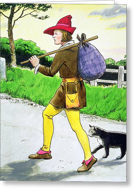 Fabled Greeting Cards - Dick Whittington And His Cat Greeting Card by Trelleek