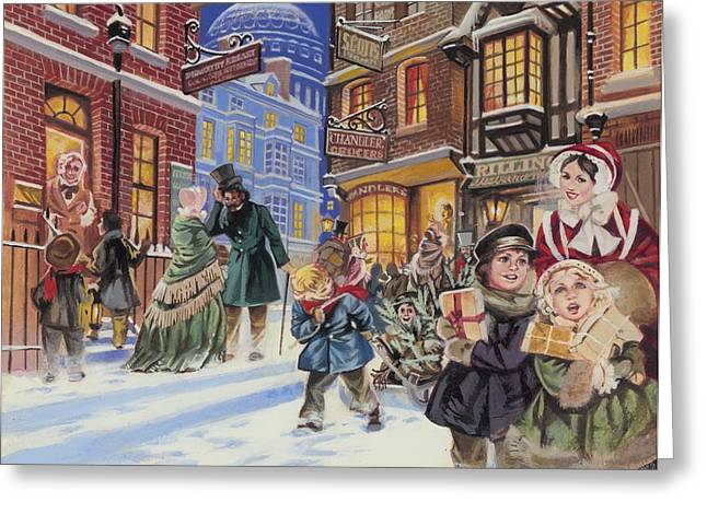 Excitement Greeting Cards - Dickensian Christmas Scene Greeting Card by Angus McBride