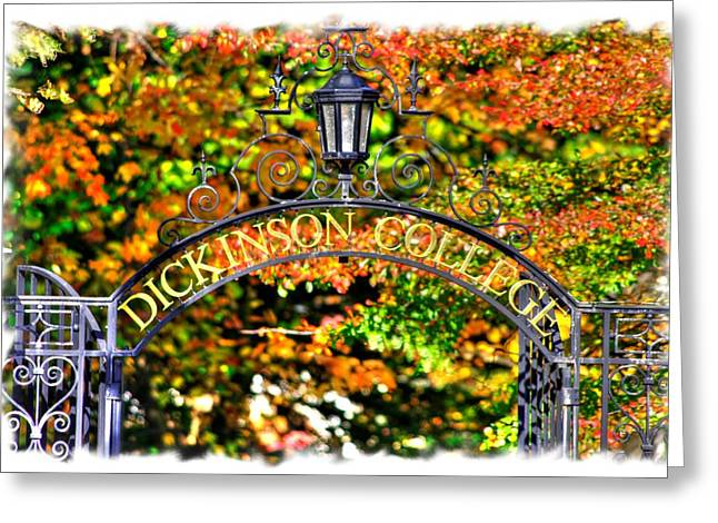 Libertas Greeting Cards - Dickinson College - Archway to the Grounds Close1 - Carlisle PA Greeting Card by Michael Mazaika