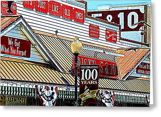 Store Fronts Greeting Cards - Dicks five and Dime  Greeting Card by Kim Loftis