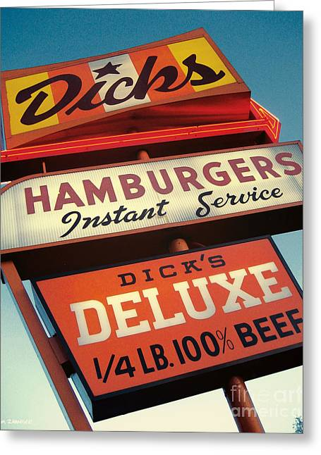 Burger Greeting Cards - Dicks Hamburgers Greeting Card by Jim Zahniser