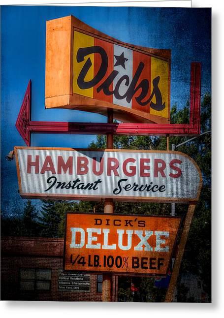 Hamburger Greeting Cards - Dicks Hamburgers Greeting Card by Spencer McDonald